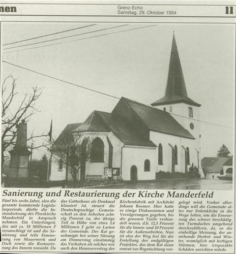 Sanierung und Restaurierung der Kirche Manderfeld