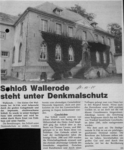 Schloß Wallerode steht unter Denkmalschutz