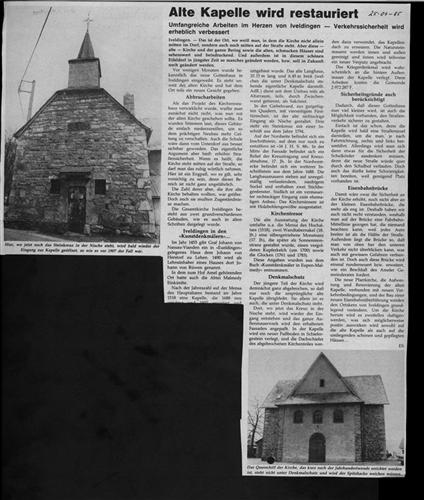Alte Kapelle wird restauriert