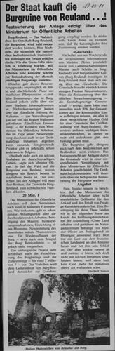 Zeitungsartikel - Der Staat kauft die Burgruine von Reuland...!