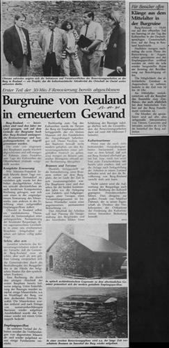 Zeitungsartikel - Burgruine von Reuland in erneuertem Gewand