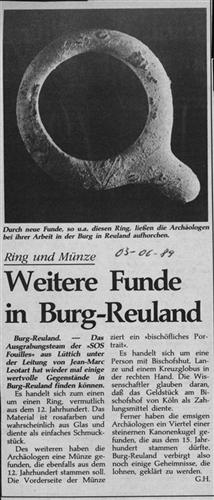 Zeitungsartikel - Weitere Funde in Burg-Reuland