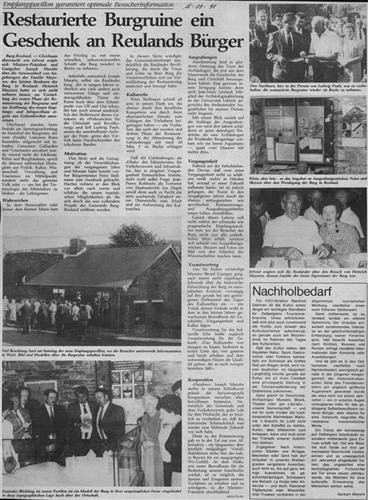 Zeitungsartikel - Restaurierte Burgruine ein Geschenk an Reulands Bürger