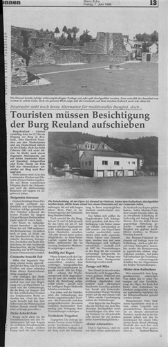 Zeitungsartikel - Touristen müssen Besichtigung der Burg Reuland aufschieben