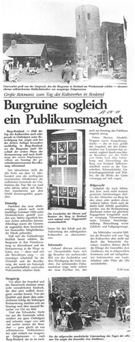Zeitungsartikel - Burgruine sogleich ein Publikumsmagnet