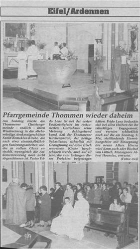 Pfarrgemeinde Thommen wieder daheim