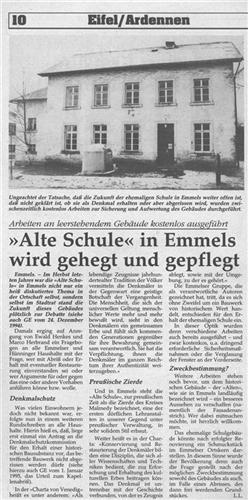 Alte Schule in Emmels wird gehegt und gepflegt