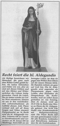 Recht feiert die hl. Aldegundis