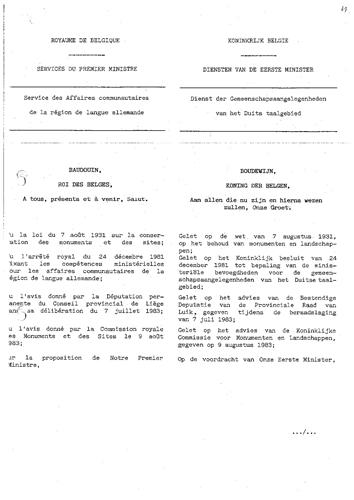Unterschutzstellungserlass vom 1. September 1983