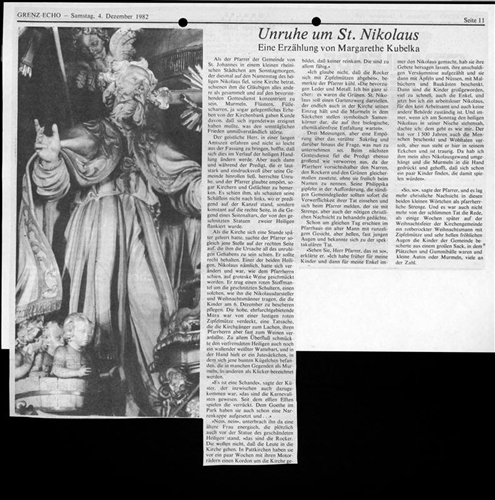 Zeitungsartikel - Unruhe um St. Nikolaus