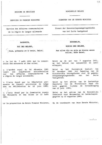 Königlicher Erlass zur Unterschutzstellung vom 10. Mai 1983