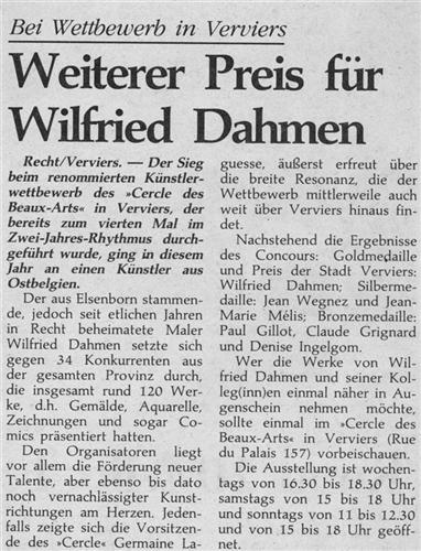 Weiterer Preis für Wilfried Dahmen