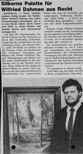 Silberne Palette für Wilfried Dahmen aus Recht