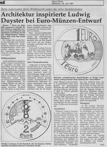 Architektur inspirierte Ludwig Duyster bei Euro-Münzen-Entwurf