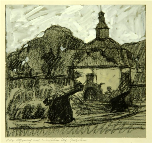 Alter Schlosshof mit erbeuteten belg. Geschützen