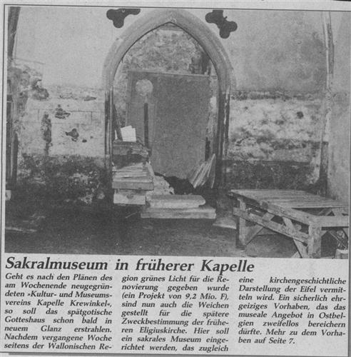 Sakralmuseum in früherer Kapelle