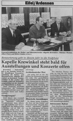 Kapelle Krewinkel steht bald für Ausstellungen und Konzerte offen