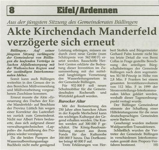 Akte Kirchendach Manderfeld verzögerte sich erneut