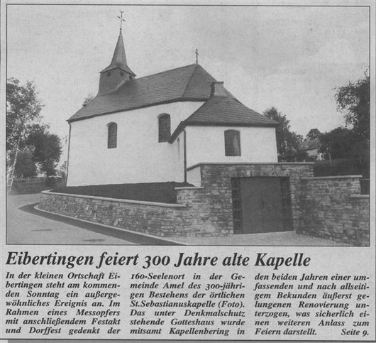 Eibertingen feiert 300 Jahre alte Kapelle