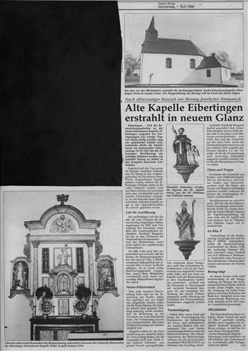 Alte Kapelle Eibertingen erstrahlt in neuem Glanz