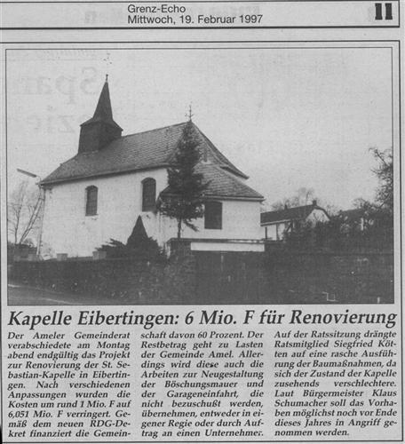 Kapelle Eibertingen: 6 Mio. F. für Renovierung