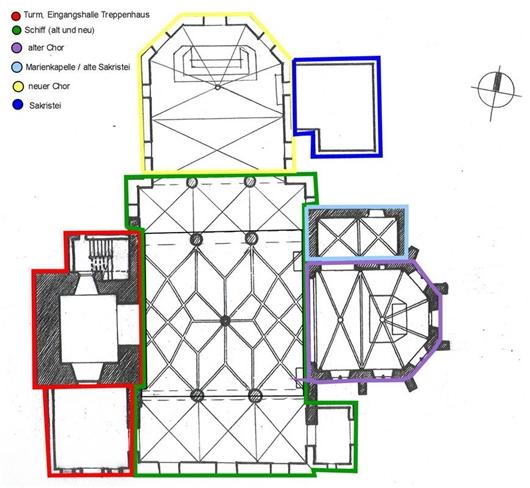 Grundriss mit Aufteilung der verschiedenen Bauvolumen