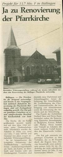 Ja zu Renovierung der Pfarrkirche