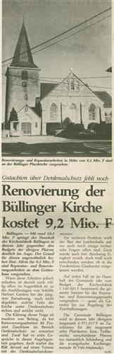 Renovierung der Büllinger Kirche kostet 9,2 Mio. F