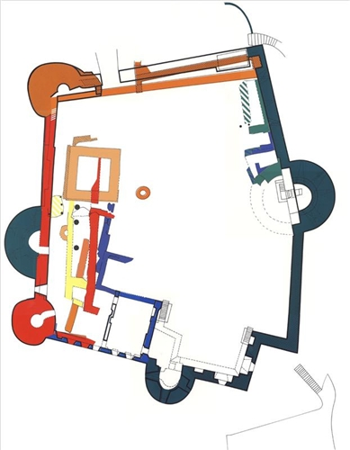 Grundriss mit Darstellung der Bauphasen