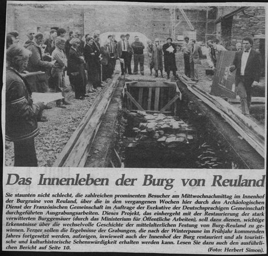 Zeitungsartikel - Das Innenleben der Burg von Reuland