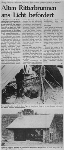 Zeitungsartikel - Alten Ritterbrunnen ans Licht befördert