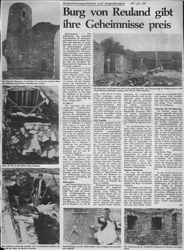 Zeitungsartikel - Burg von Reuland gibt ihre Geheimnisse preis