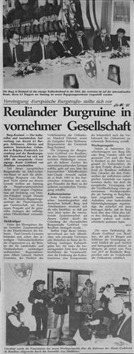 Zeitungsartikel - Reuländer Burgruine in vornehmer Gesellschaft