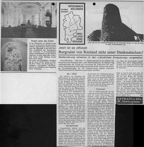 Zeitungsartikel - Jetzt ist es offiziell: Burgruine von Reuland steht unter Denkmalschutz