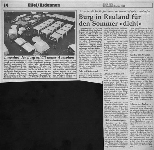 Zeitungsartikel - Burg in Reuland für den Sommer
