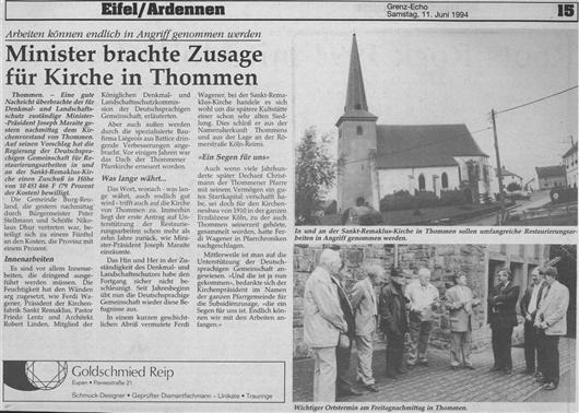 Minister brachte Zusage für Kirche in Thommen