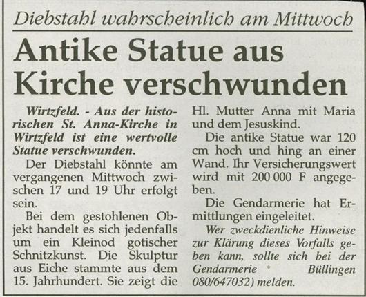 Antike Statue aus Kirche verschwunden
