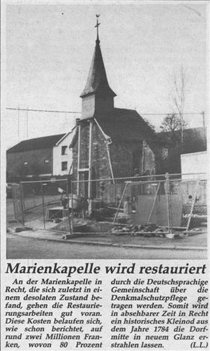 Marienkapelle wird restauriert