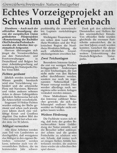 Echtes Vorzeigeprojekt an Schwalm und Perlenbach