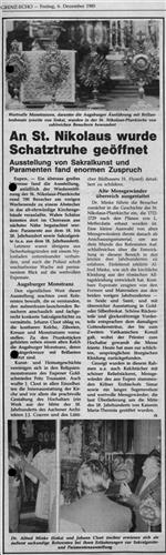 Zeitungsartikel - An St. Nikolaus wurde Schatztruhe geöffnet