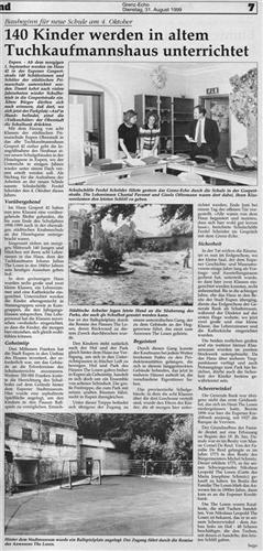 Zeitungsartikel - 140 Kinder werden in altem Tuchkaufmannshaus unterrichtet