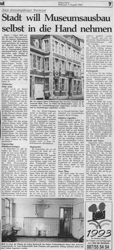 Zeitungsartikel - Stadt will Museumsausbau selbst in die Hand nehmen