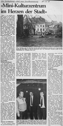 Zeitungsartikel - Mini-Kulturzentrum im Herzen der Stadt