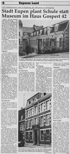 Zeitungsartikel - Stadt Eupen plant Schule statt Museum im Haus Gospert 42