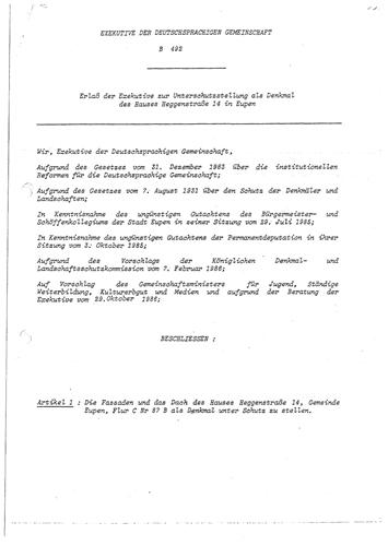 Unterschutzstellungserlass vom 30. Oktober 1986