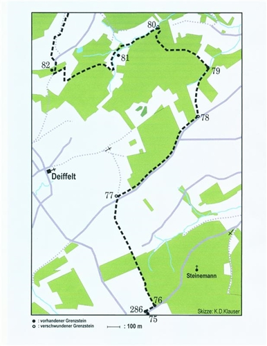 Lageplan der Grenzsteine Nr. 75-82