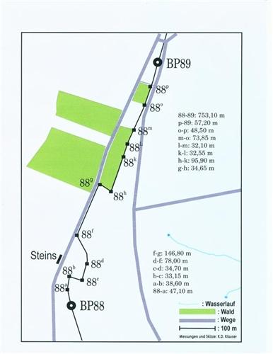 Lageplan der Grenzsteine Nr. 88-89