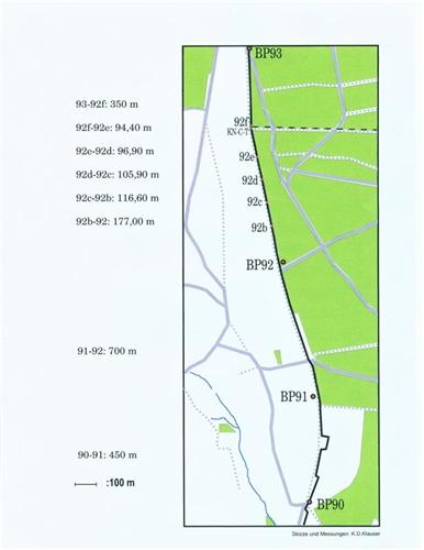Lageplan der Grenzsteine Nr. 90-93