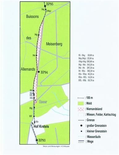 Lageplan der Grenzsteine Nr. 93-95