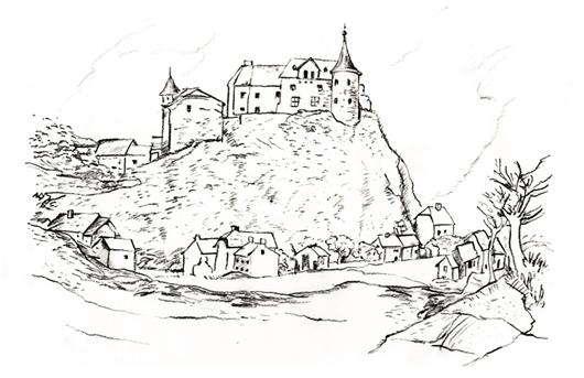 Zeichnung - Schloss Ouren